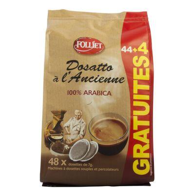 Dosettes souples café à l'ancienne arabica FOLLIET, x44+4 of