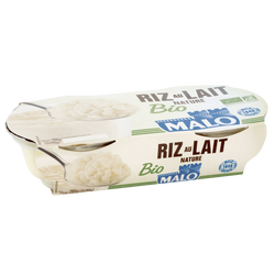 Riz au lait bio nature MALO, 2x140g