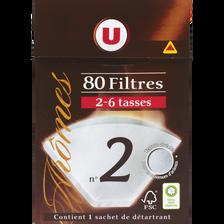 Filtres à café numéro 2 U, 80 unités +détartrant