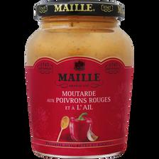 Moutarde poivrons rouges et à l'ail, MAILLE, bocal de 215g