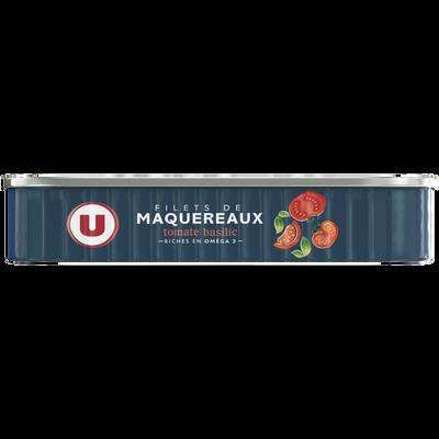Filets maquereaux sauce tomate basilic U, 1/4, boîte de 169g