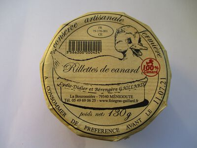 RILLETTES DE CANARD GAILLARD BOCAL 130G