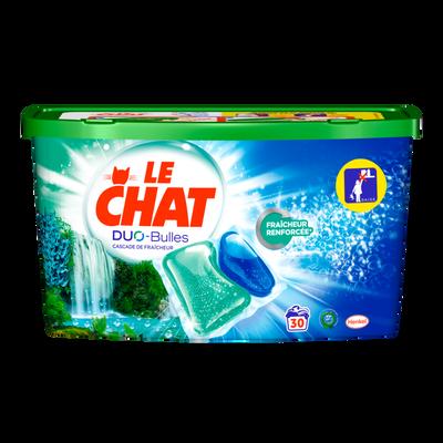 Lessive Duo bulles cascade fraîcheur LE CHAT, boîte de 30 caps de 0,75g