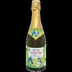 Jus de pomme pétillant Funny' Pop U MAT ET LOU, bouteille en verre de75cl
