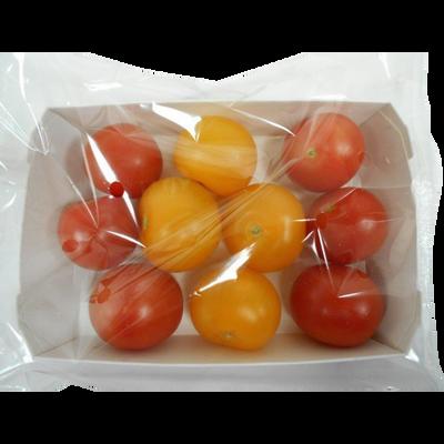 Tomate cocktail ronde, segment Les rondes, jaune et rouge, BIO, catégorie 2, barquette, 400g