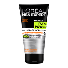 Gel visage ultra-désincrustant Pure Power MEN EXPERT, tube de 150ml
