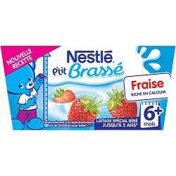 Dessert infantile fraise P'tit Brassé NESTLE, dès 6 mois, 4x100g