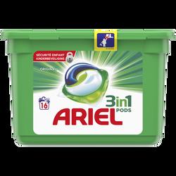 Lessive original pods ARIEL, boîte de 16 doses soit 432g