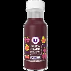Fruits et graine raisin grenade framboise chia U, bouteille en plastique de 25cl