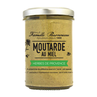 Moutarde herbe de Provence au miel FAMILLE PERRONNEAU, 210g