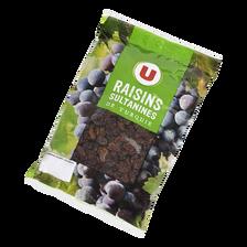 Raisins Sultanine, U, calibre 235/265, sans conservateur, sachet 500g