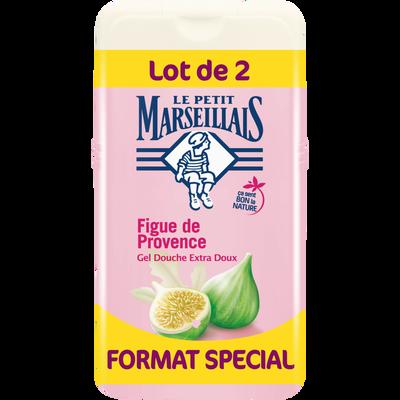 Douche extra doux parfum figue de Provence LE PETIT MARSEILLAIS, 2 flacons de 250ml