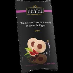 Bloc de foie gras de canard et coeur de figue mi-cuit FEYEL, étui de 2tranches de 40g soit 80g