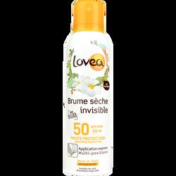 Brume sèche invisible solaire SPF50 LOVEA, spray de 200ml