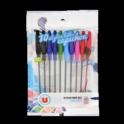 Stylo bille U, pack de 10 coloris assortis