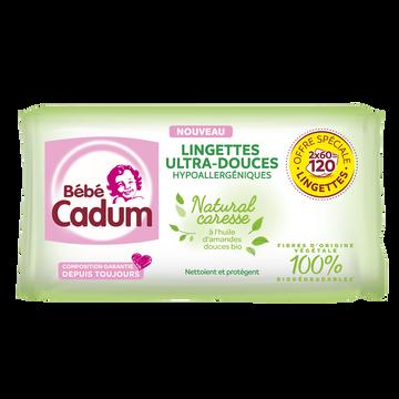 Cadum Lingettes Pour Bébés Natural Caresse Cadum, 2x60