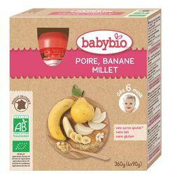 BABYBIO Poire Banane Millet 4X90G