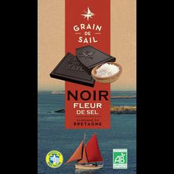 Chocolat noir et fleur de sel BIO GRAIN DE SAIL, tablette de 100g