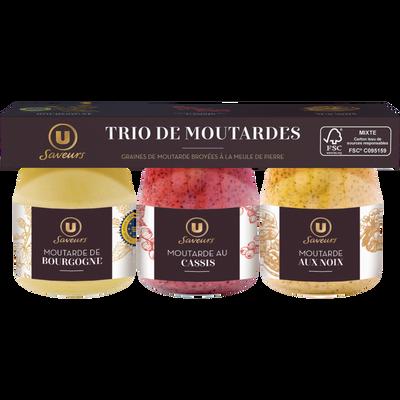 Trio de moutardes assorties : Bourgogne IGP, cassis, noix U SAVEURS, 3pots de 105g soit 315g