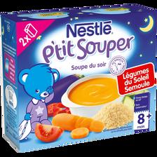 Soupe infantile légumes du soleil et semoule P'tit Souper NESTLE, dès8 mois, 2x250ml