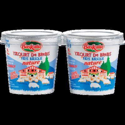 Yaourt pur brebis nature BASKALIA, 2 pots en carton de 125g