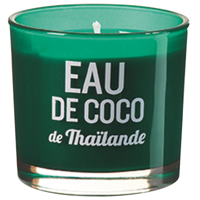 Bougie verre coloré sérigraphié, eau de coco thailande