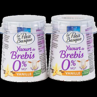 Yaourt maigre au lait de brebis à la vanille, LE PETIT BASQUE, 0% de mg, 2x125g soit 250g
