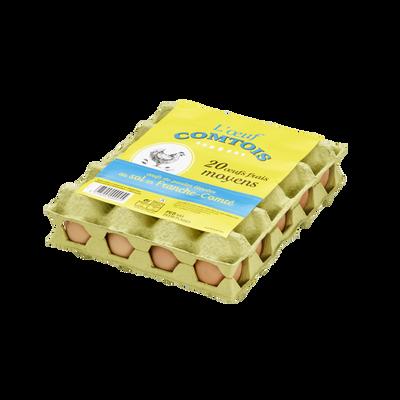 Oeufs de poules élevées au sol moyen OEUF COMTOIS, x20