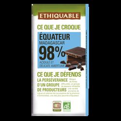 Chocolat noir 98% bio ETHIQUABLE, tablette de 100g