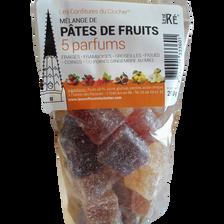 Pâte de fruit mélange 5 parfums LES CONFITURES DU CLOCHER, sachet de 200g