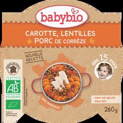 Assiette pour bébé, carotte lentillons épaule de porc, BABYBIO, 260g