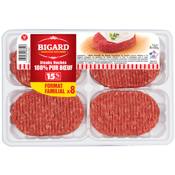 Steak haché, 15% MAT.GR., BIGARD, France, 8 pièces, 800g