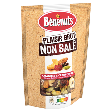 Bénénuts Plaisir Brut Mix Noix/cranberries Grillées Benenuts, 160g