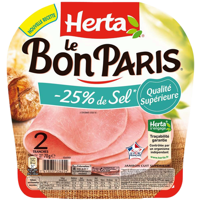 "Jambon ""Le Bon Paris"" -25% de sel HERTA, 2 tranches, 70g"