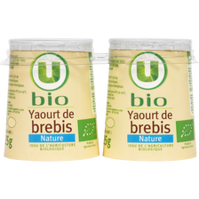 Yaourts bio nature au lait de brebis U BIO, 2x125g