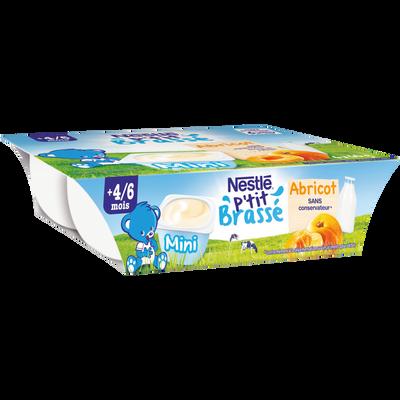 Dessert abricot P'tit Brassé NESTLE, dès 4/6 mois, 6x60g