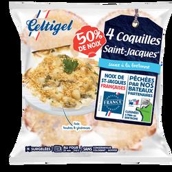 Coquilles St Jacques à la bretonne 50% surgelées CELTIGEL, 4x90g