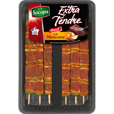 Brochette boeuf extra tendre mexicaine, SOCOPA, 6 pièces, barquette, 510g