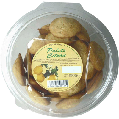 Palets pur beurre citron, BISCUITERIE MODERNE, blister, 250g