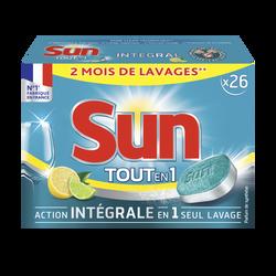 Pastilles lave vaisselle tout en 1 citron SUN, 2 mois delavages 26 doses