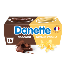 Crème dessert vanille chocolat DANETTE, 16x115g