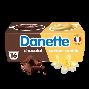 Danone Crème Dessert Vanille Chocolat Danette, 16x115g