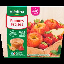 Coupelles 100% fruits pommes/fraises BLEDINA, de 4 à 6 mois, 4x1 00g