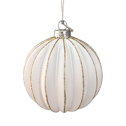 Boule suspension en verre 8cm blanc/or