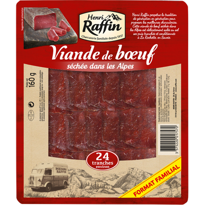 Viande de boeuf séchée tranchée, HENRI RAFFIN, 2x12 tranches, 160g