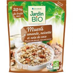 Muesli amande noisette et noix de coco JARDIN BIO 375g