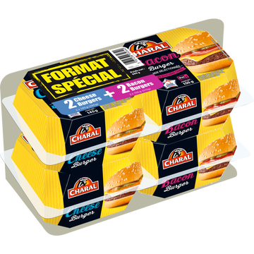Charal Lot De 2 Cheese Burgers Et 2 Bacon Burgers, Charal, France, Barquette600g