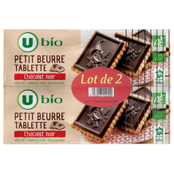 Petit beurre chocolat noir tablette U BIO, paquet 2x150g