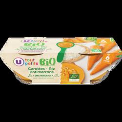Bols carottes riz potimarron sans morceaux Tout Petits Bio U, dès 6 mois, 2x200g