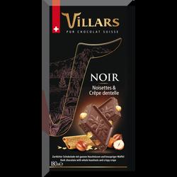 Tablette bloc noir noisettes crêpe dentelle, VILLARS, 180g
